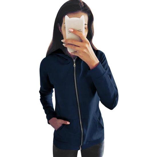 Femme Bleu Outwear Manches Longues Sweat Capuche À Pardessus Veste Mode Manteau Zipper aqwd66F