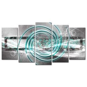 TABLEAU - TOILE Tableau Déco Abstraite Spirale du Temps - 150x80 c