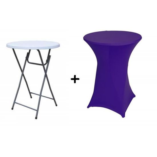 Table haute bar pliante mange debout + Housse violette - Achat ...