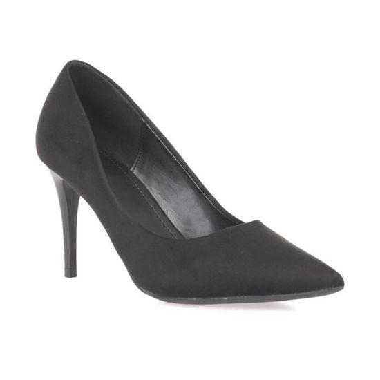 Escarpins noirs en suédine à talon mat Noir Vente Noir - Achat / Vente Noir escarpin 8bb110