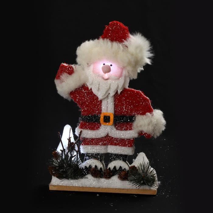 Personnage de Noël Père Noël à poser lumineux 30cm - Piles