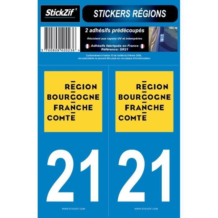 STICKZIF 2 Autocollants Région Département 21 SR21