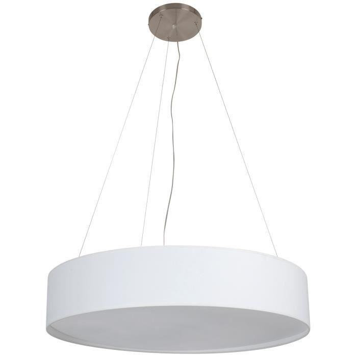Matière : métal, coton et PVC - Type de culot : E27 - Puissance : 60 W - Coloris : blancLUSTRE - SUSPENSION