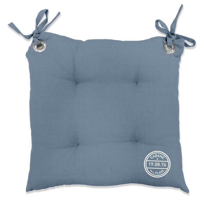 TODAY Galette de chaise matelassée PONTON 40x40 cm bleu récif