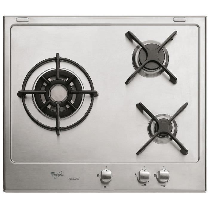 WHIRLPOOL AKT 600 IX - Table de cuisson gaz - 3 foyers - L60 x P51cm - Revêtement Ixelium - Coloris inox