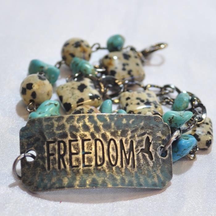 Womens Stamped Metal Western Style Beaded Bracelet freedom. C9OED