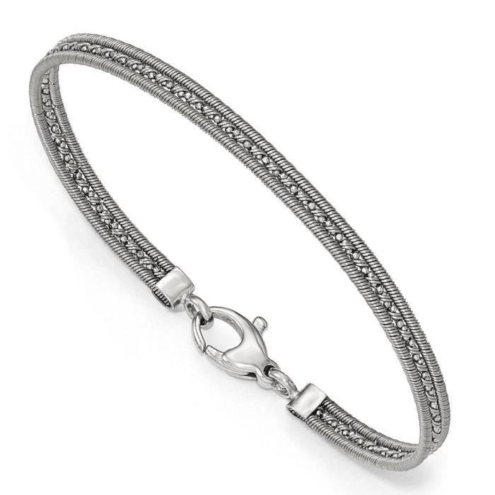 Rhodium argent Sterling plaqué Bracelet en maille 7,5 cm