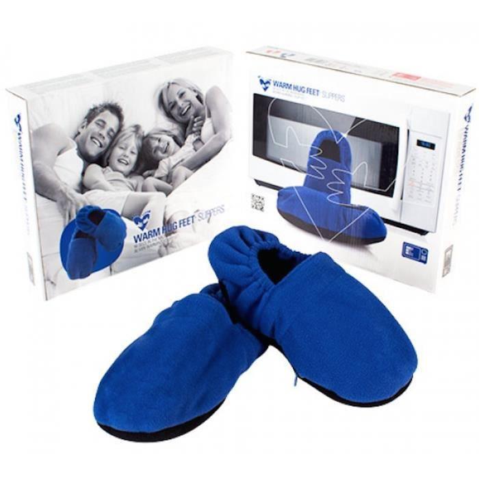 Idée cadeau pantoufles chaussons chauffants micro ondes bleu taille unique