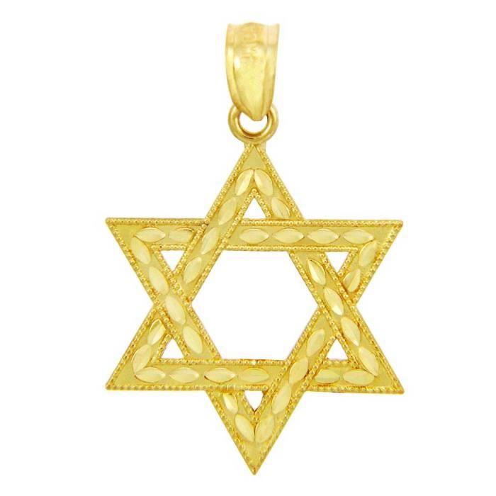Pendentif 10 ct 471/1000 OrJuive Étoile de David- (petit -1 inch)