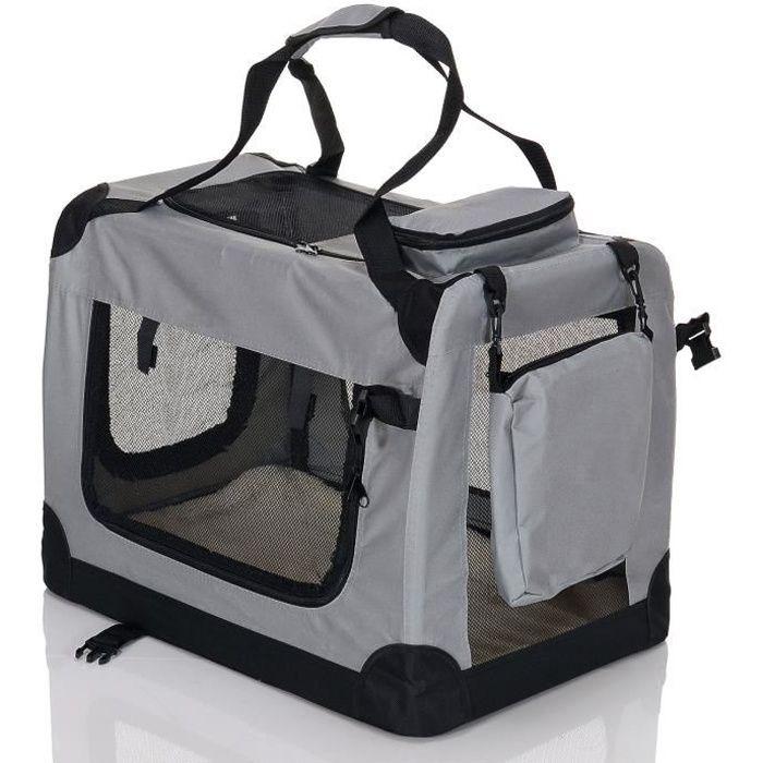 Petviolet Boîte De Transport Por Chiens Chats Animaux Pliable Confortable Sac Transport, Taille L Gris
