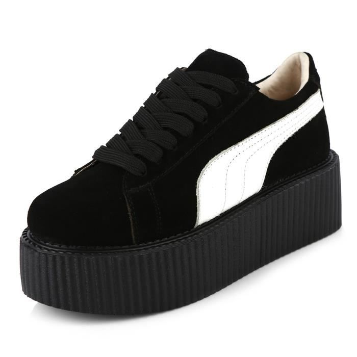 RoseG Femmes Lacets Platforme Punk Creepers Cuir Baskets Chaussures 35