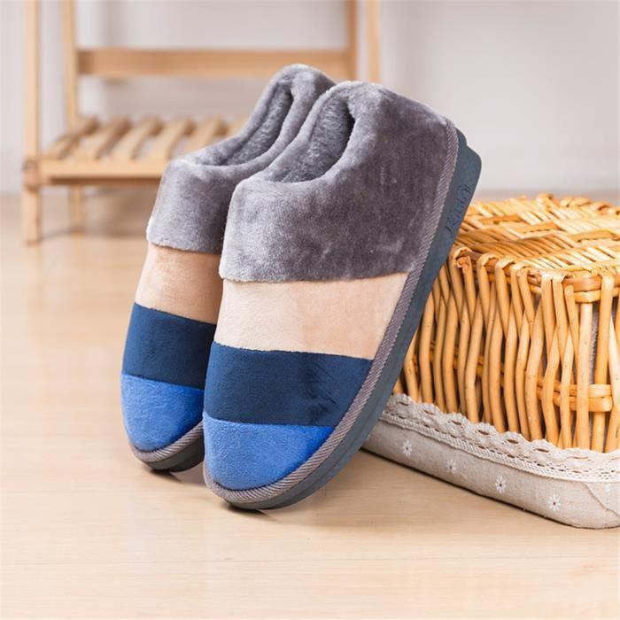 chausson homme pour l'hiver Bandes de couleur chaussure homme marque de luxe intérieurpantoufles hommes chaud hiver peluche