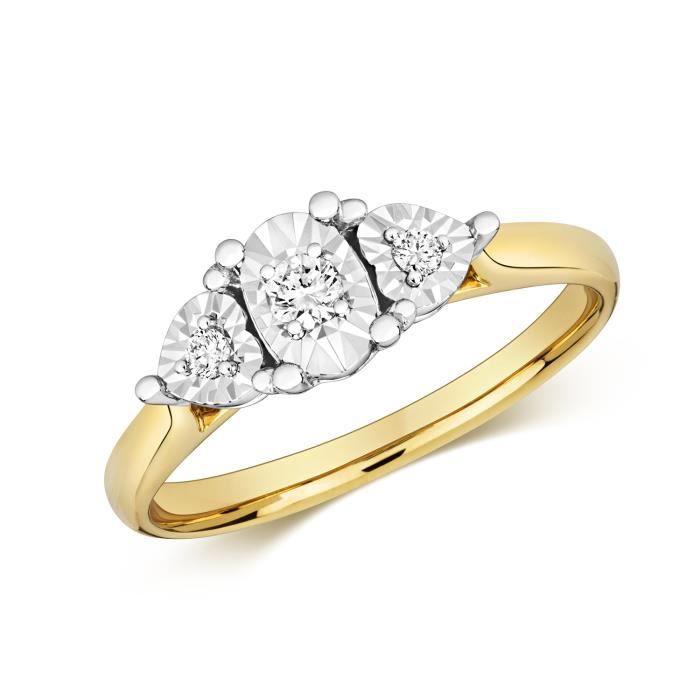Bague Femme Trilogie Or 375-1000 et Diamant Brillant 0.10 Carat GH - I1 40304