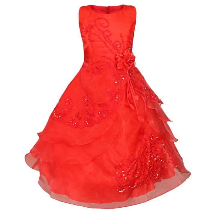 469a652b98e Robe mariage enfant rouge - Achat   Vente pas cher