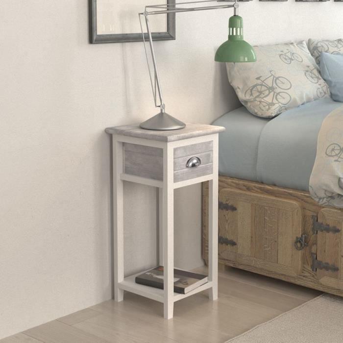 Table de chevet avec 1 tiroir Contemporain Table de nuit Meuble de  rangement Table console Gris et blanc