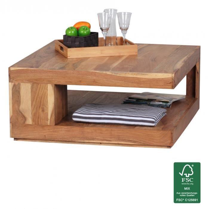 wohnling table basse en bois massif acacia 90cm design. Black Bedroom Furniture Sets. Home Design Ideas