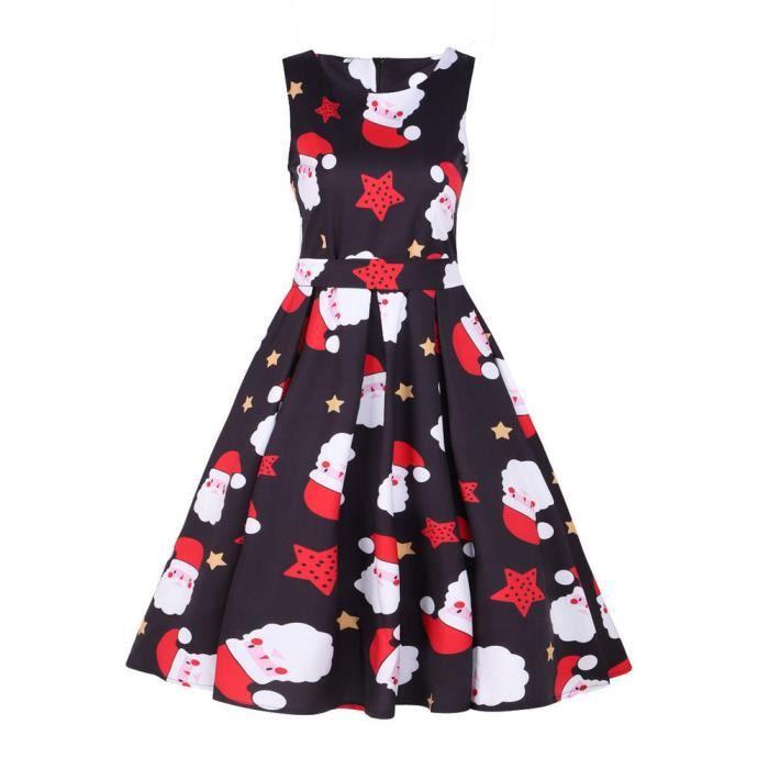 Napoulen®Père noël 1950 rétro bal de Noël Swing Vintage robe de soirée NOIR-LNP71106365