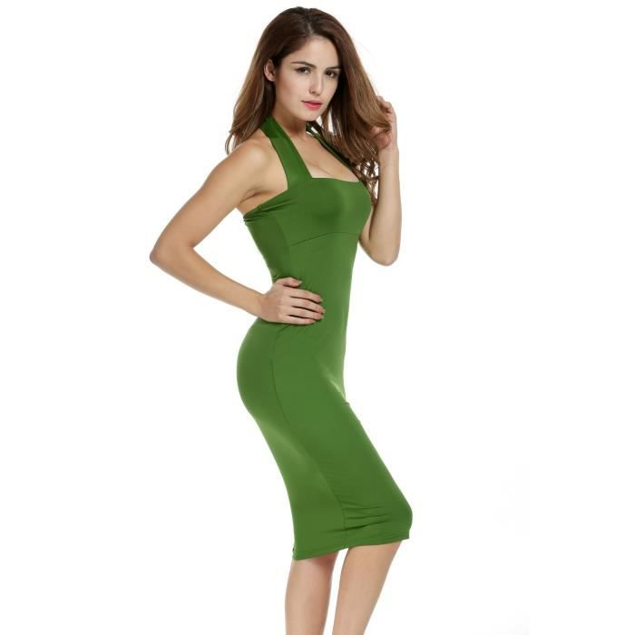 Sexy Halter manches bodycon Femmes Bandage Crayon Party Dress 2PCR7J Taille-34