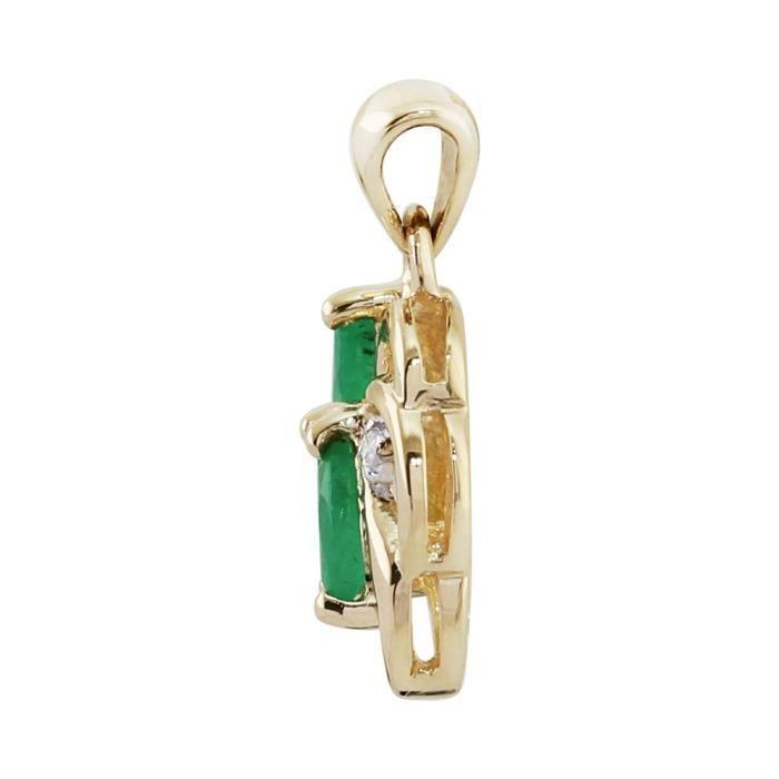 Gemondo Pendentif Or jaune 9 ct Émeraude Vert & Diamant- 45 cm
