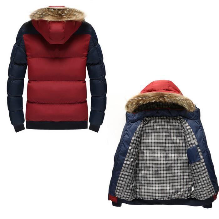 Taille Block Mode Legere Veste Fourrure Color Zippée Capuche Avec Homme Grande 8YYvq1