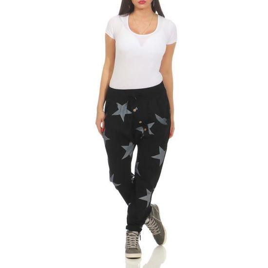 Femmes zarmexx pantalons de survêtement baggy petit ami avec bouton face pantalons  de loisirs jogging pantalons coton t 3SQU7C Taill Noir Noir - Achat ... 689ec0135a0