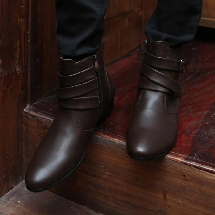 Botte Homme Simple britannique Big Taille haute qualité en cuir de loisirs noir taille43