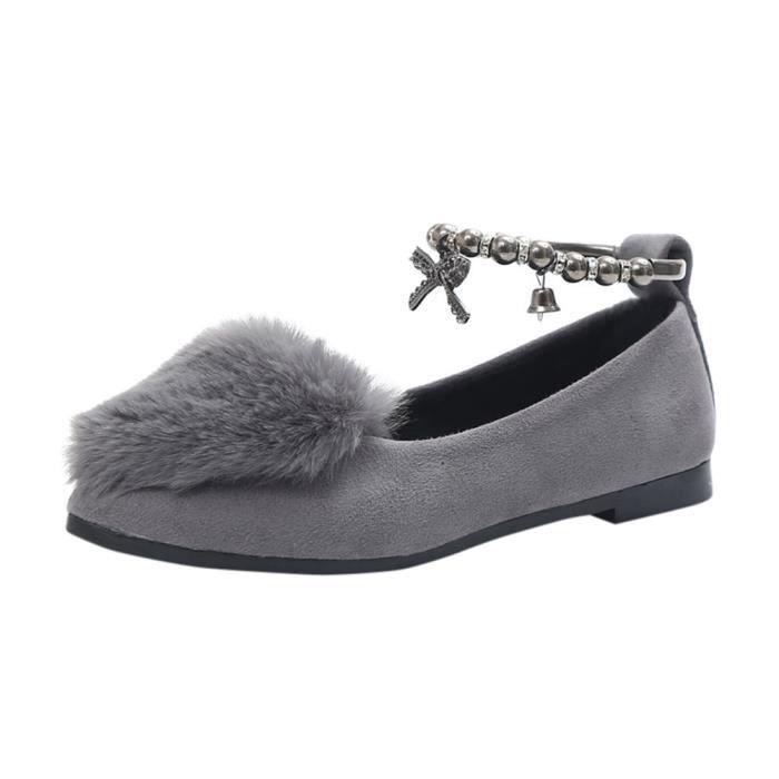Simples Flop Plat Femmes Slip gris Slipper Fausse On Flip Fluffy Sliders En Benjanies Fourrure Chaussures pRHT7pv