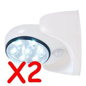 2 spot lampe detecteur de mouvement 7 led exterieur interieur achat vente lampe de poche 2. Black Bedroom Furniture Sets. Home Design Ideas