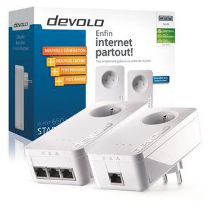 COURANT PORTEUR - CPL DEVOLO Kit de 2 CPL filaire 600 Mbit/s, 3 ports Gi