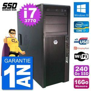 ORDI BUREAU RECONDITIONNÉ PC Tour HP Z210 Intel Core i7-3770 RAM 16Go SSD 24