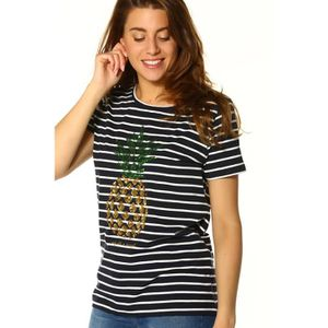 45b5d5336483a T-SHIRT Only T-shirt Femme - KITA S-S SEQUINS PINEAPPLE BO. ‹›