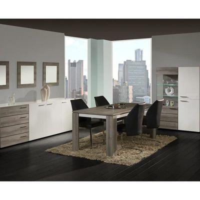 Salle à manger complète blanc laqué et couleur chêne grisé moderne ...
