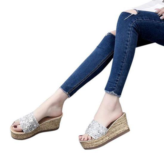 Glitter Platform Gladiator Casual Chaussures Femmes Slip On Slippers Tongs Sandales@Noir Noir Noir - Achat / Vente slip-on