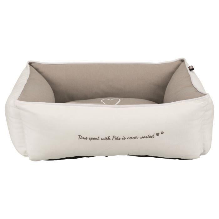 TRIXIE Lit Pet's Home - 60 x 50 cm - Blanc et beige taupe - Pour chien