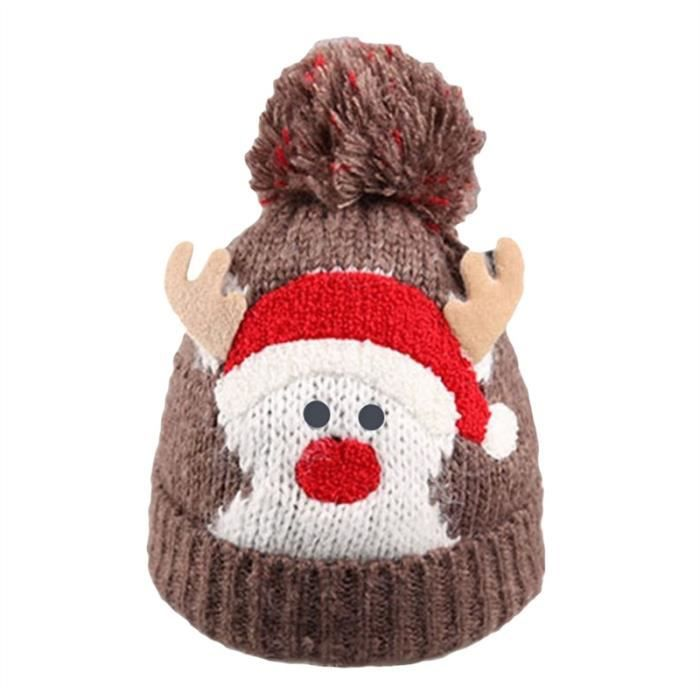 1ba5a7ab1bd5 Noël Bébé Enfants Filles Garçons Chaud Hiver Bonnet De Laine De Bonnet  Chapeaux De Noël Bonnets De Cerf Mignons (Café)