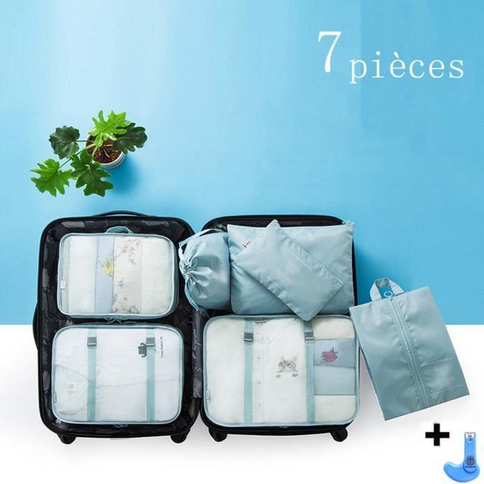ensemble de sac de rangement de voyage de sept pièces, sac de tri de voyage de stockage d'habillement de bagage