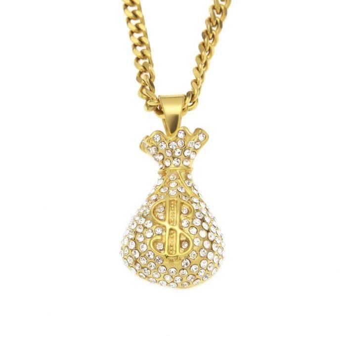 femmes Plaqué or 18 carats Pave Cz Dollar Purse Style Pendentif Chaîne Cubaine Collier