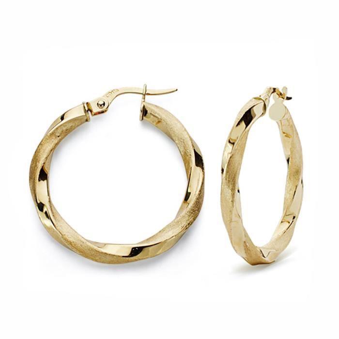 Boucled'oreille 25mm 18k anneaux dor. mat et brillant criollo [AA0040]