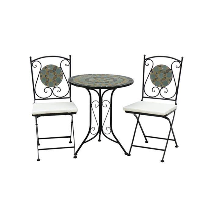 Table en fer forge mosaique