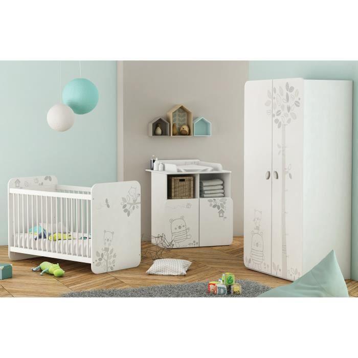 BEAR Chambre bébé complète Lit 60x120 cm + Armoire + Commode à Langer -  Blanc