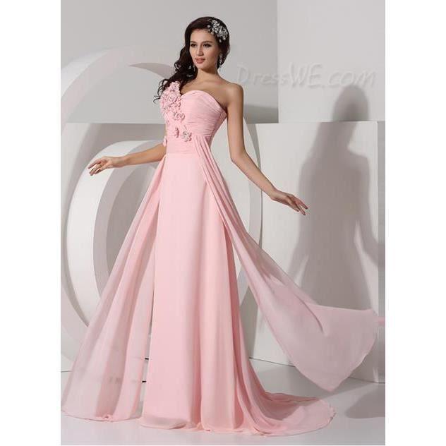 la mousseline de haute qualit robe longue une paule robe de soir e pas cher achat vente. Black Bedroom Furniture Sets. Home Design Ideas