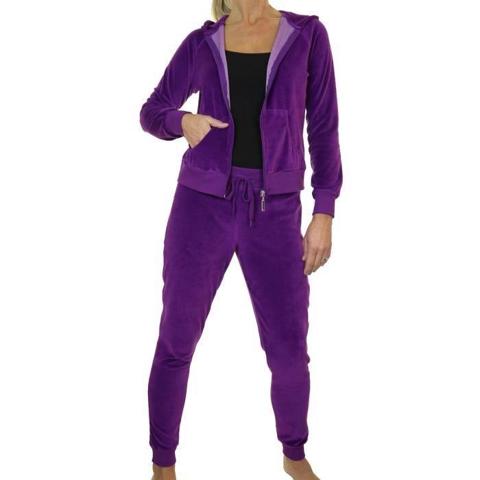 combinaison de jogging d int rieur en velours moulant doux violet capuche violet achat. Black Bedroom Furniture Sets. Home Design Ideas