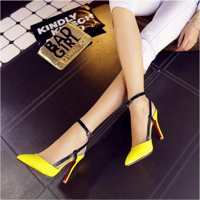 Sexy en cuir Pure Color High Heel Sandal Jaune