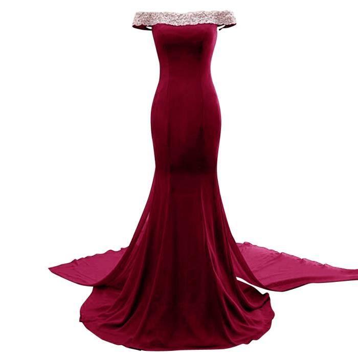0ca0a9a7a44 Robe de Soirée Cocktail Longue Bordeaux Sirène Sexy Femme Col Bateau épaules  Dénuées Manches Courtes Dos Nu Princesse pour Mariage