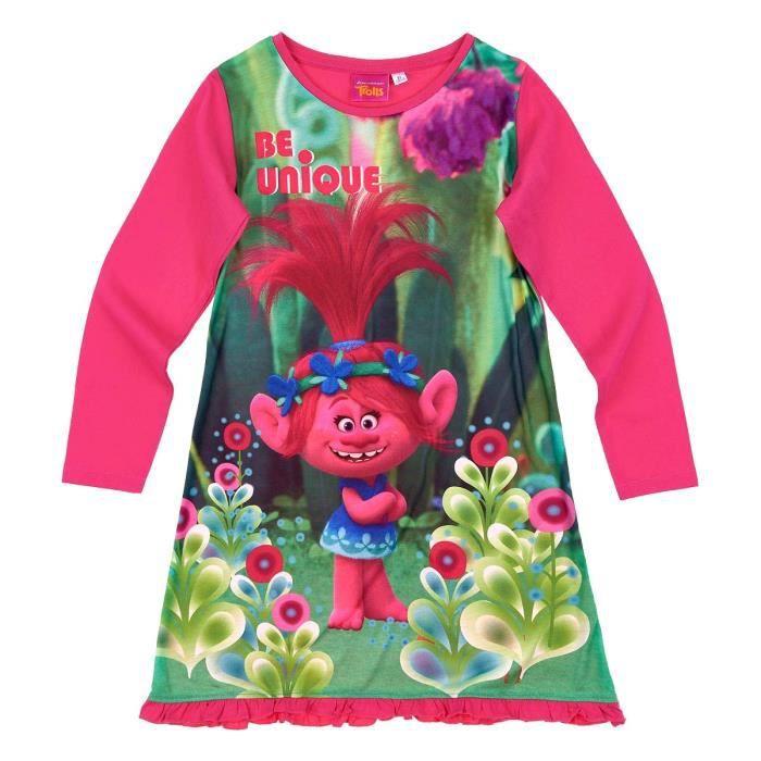 9dc846186198f Chemise de nuit enfant fille Trolls Rose foncé de 4 à 10ans Rose ...