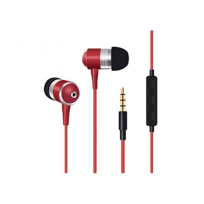 Ecouteurs Métal Pour Huawei Nova Plus Avec Micro Et Télécommande Réglage Son Kit Main Libre Intra-auriculaire Universel (rouge)
