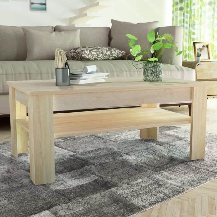 Moderne Table Basse Table A The Console Table De Salon Contemporain Scandinave En Agglomere 110 X 65 X 48 Cm Chene