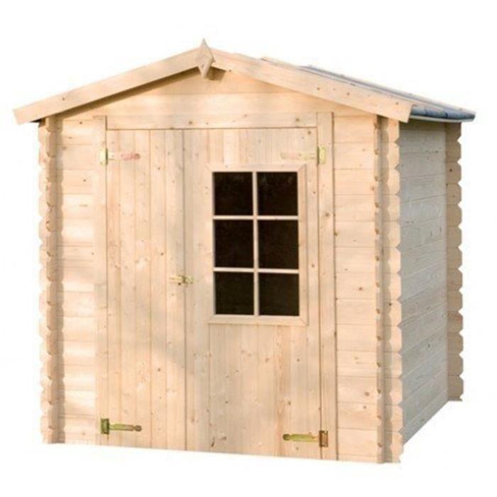 Abri de jardin en bois ave une porte charni re 210 x 200 x 213 cm achat vente abri jardin - Porte de jardin ...