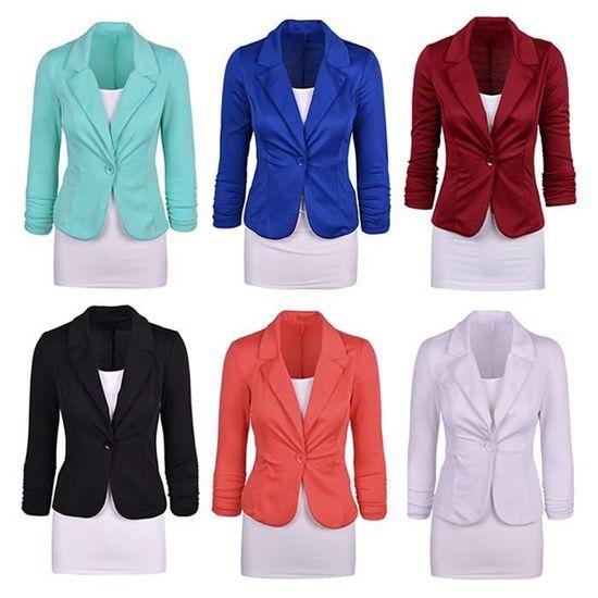 ... Veste Ajusté Basique Blazer Élégant OL Minetom de Jacket Costume  Longues Manteau Blazer Slim Fit Femme ... acd44d6c49dc