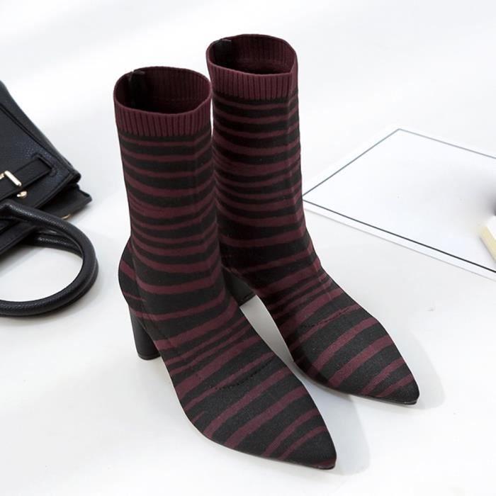 Chaussures Boot De Talons Talon Elasticité Zébrures Bottes Motif Femmes Épais Hauts Pointu gzCwPxq
